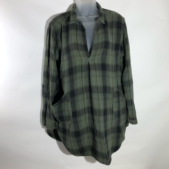 Free People Tops - CP Shades Plaid Tunic Top Green Cotton Distressed